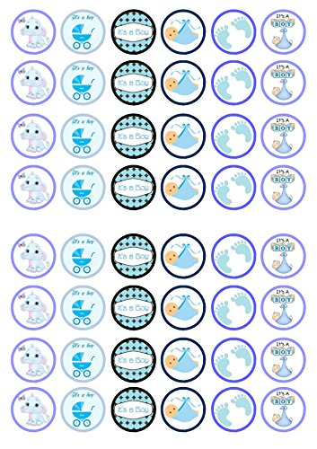 48 It's A Boy Mix Baby Shower, 48 Seine junge Baby-Dusche, Essbare PREMIUM Dicke GEZUCKERTE Vanille, Reispapier Mini Cupcake Toppers, Cake Pops, Cookies für Wafer - Cake Shower Pops Baby