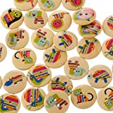 Souarts Mixed Natural Color Round 2 Holes Wood Buttons Animal Printed Pack of 100pcs