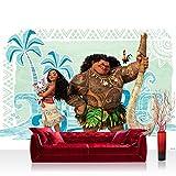 Papel Pintado Fotográfico Premium Plus fotográfico pintado–cuadro de pared–Disney Disney–Vaiana–Papel pintado Vaiana Maui Pua heihei Multicolor–No. 3345, Fantasía, Fototapeten 152,5x104cm | PREMIUM PLUS