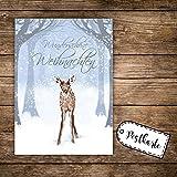 A6 Weihnachtskarte Reh Postkarte Print mit Rehkitz im Winterwald & Spruch Wunderschöne Weihnachten pk127 ilka parey wandtattoo-welt®