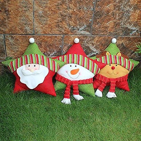 iplst @ Babbo Natale Pupazzo Di Neve Elk Cuscino peluche Natale Finestra Divano Letto Decor, Snowman pillow cushion,