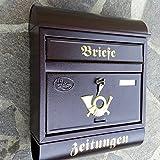Großer Briefkasten / Postkasten Rund-Dach in Weinrot mit Zeitungsfach