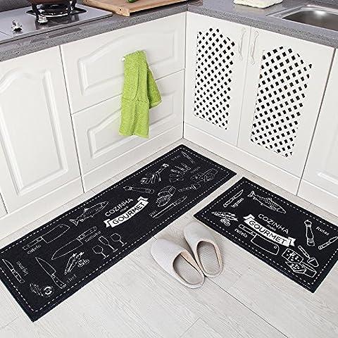 LINDONG-Cocina mats mucho agarre para absorber el agua se puede lavar a máquina en la puerta del baño de pies soporte antideslizante dormitorio colchón ,40*60+40*120cm, cocina Japonesa