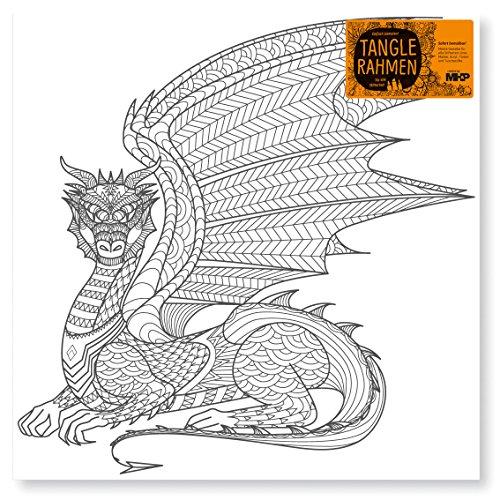 Tangle Bilderrahmen bedruckt 'Drache dragon XL' 40x40cm Zentangle Ausmalen Fantasie Leinwand