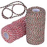 180m Cuerda Hilo Cordel Algodón para Envolver Regalo Navidad Manualidades Costura Jadin Artesanía Rojo Blanco Verde (90m*2rollos)