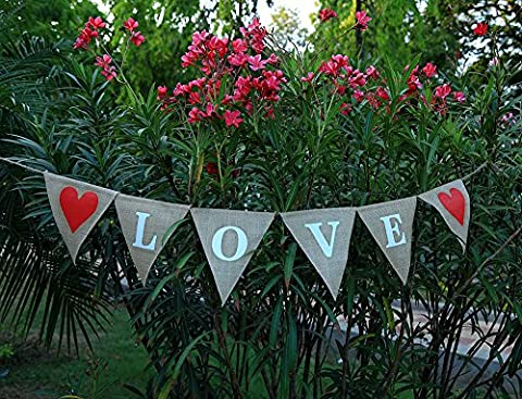 Love Jute–Hochzeit Banner–Verlobungsring Hochzeit Home Décor–Valentine Jute mit Rot Herz auf der edges- Bridal Dusche banner-rustic Hochzeit garland-engagement Party décor-wedding Herz Wimpelkette