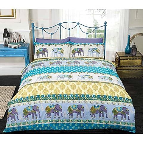 Al estilo indio étnico Contempo edredón de elefante y impresión de Paisley - cama nunchk