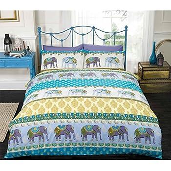 Just Contempo Ethnic Elephant Duvet Cover Set King Blue