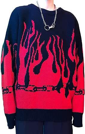 Bienwwow, maglione da donna a forma di fiamma, con maniche a pipistrello