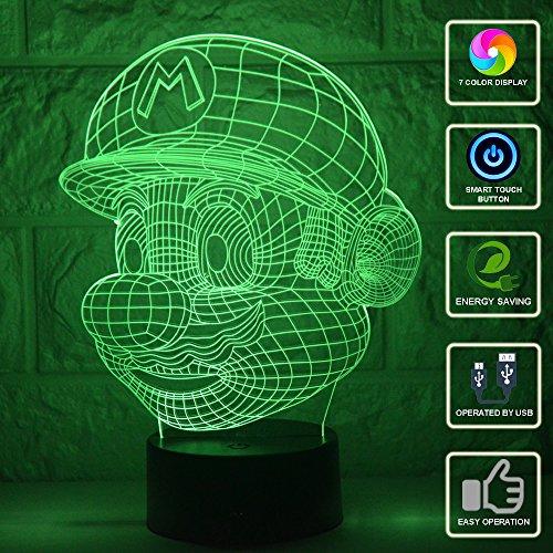 3D Lámpara de Escritorio Mesa 7 cambiar el color botón táctil de es