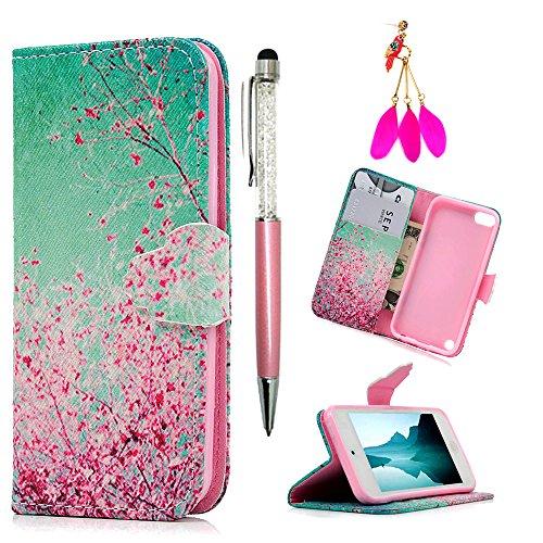 iPod Schutzhülle iPod Touch 5Fall-mollycoocle Pink Cherry Blossoms Ständer Geldbörse Kreditkarte ID Inhaber TPU weich Bumper Premium PU Leder Ultra Slim Fit Cover für iPod Touch 55. Generation