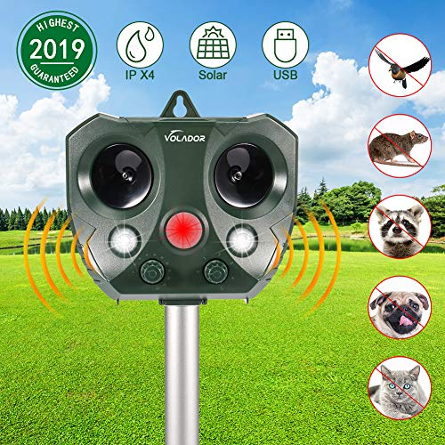 VOLADOR Repellente per Gatti Ultrasuoni Solare, Animali ad Ultrasuoni, Repellente Gatti Solar Animale Repeller con Sensore di Movimento PIR Ultrasuoni e Flash LED, per Gatti, Cani, Conigli e Volpi