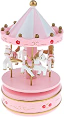 Imported Wooden Merry-Go-Round Carousel Wind Up Music Box Kids Gift-Pink