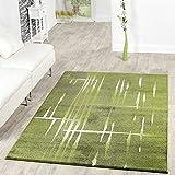 Moderner Wohnzimmer Teppich Matrix Design Kurzflor Meliert Grün Grau Creme, Größe:70x140 cm