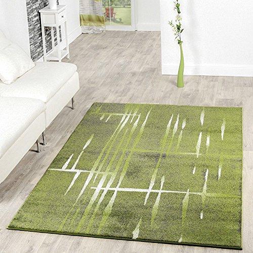 T&t design - moderno tappeto da salotto, con motivo, a pelo corto, colore: screziato verde / grigio / crema, polipropilene, 160 x 220 cm