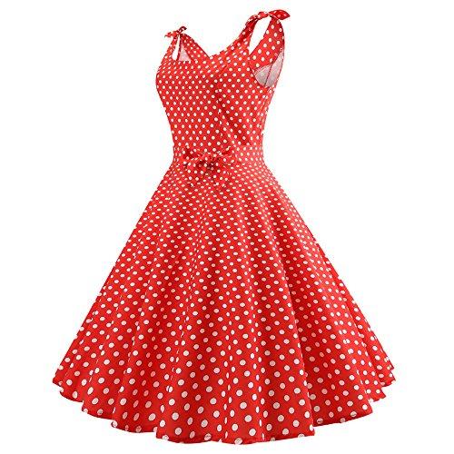 JUSTSELL ▾ Kleider Damen ,Damen Vintage 50er Cap Sleeves Dot Einfarbig Rockabilly Swing Kleider 50s Retro Vintage Rockabilly Kleid Partykleider Cocktailkleider