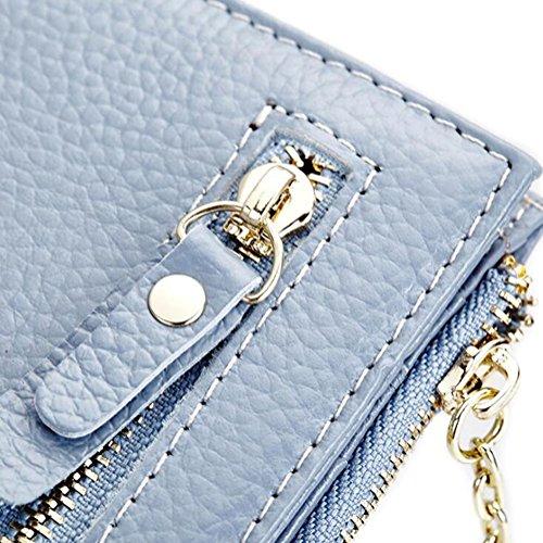 DcSpring Portafoglio Piccolo in Vera Pelle Portamonete Elegante Porta carte di credito con Cerniera per Donna (Nero) Blu chiaro