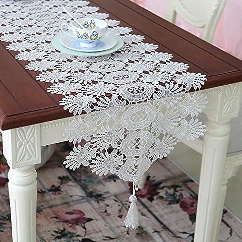 In stile europeo a laccio openwork tabella semplice bianco tabella tabella runner bandiera coreana decorate principessa lungo tavolo runner , bianco , 40*70cm Decorazioni di Natale Halloween-YU&XIN