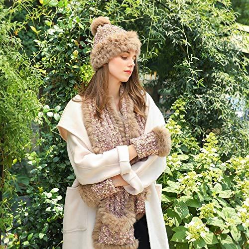 zyyaxky Hut Schal Handschuhe Dreiteilige Kaninchenfell Mischung Ballgarn Handgemachten Wollhut Anzug Weiblich, 3