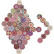 200pcs Botones Manualidades Madera Colores Mezclados Redondos para Costura DIY Scrapbooking Bricolaje Artesanía