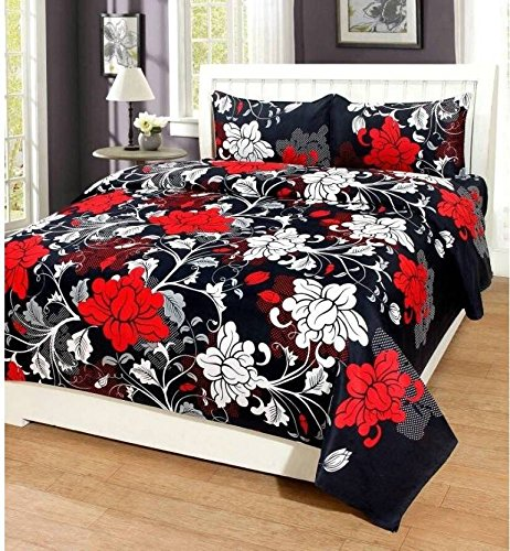Royal Ethnic Rectangular Cotton Double Bedsheet with 2 Pillow Covers - Floral (Black Maroon)
