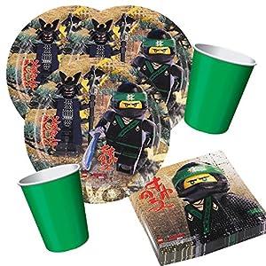 Ninjago 36-Teiliges Party-Set Lego Teller Becher Green Emerald, Servietten für 8 Kinder