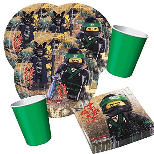 Party-Set Lego Teller Becher Green Emerald, Servietten für 8 Kinder ()