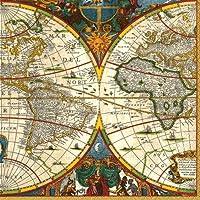 Caspari Entertaining with Caspari - Tovagliolini di carta da cocktail con cartina del mondo, confezione da 20