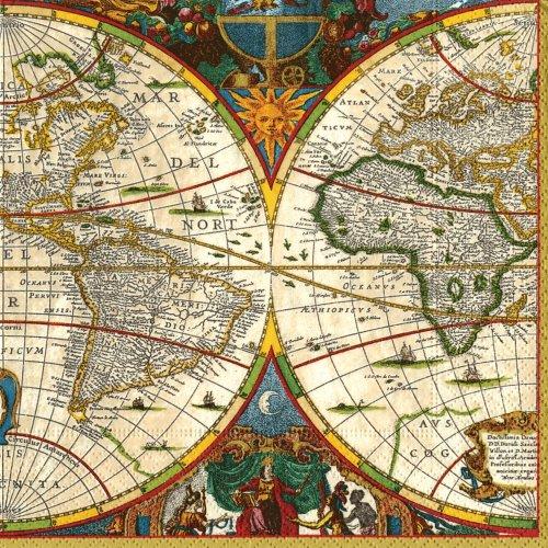 Servietten, aus Papier, mit Weltkarten-Motiv, 20 Stück (Caspari Servietten)