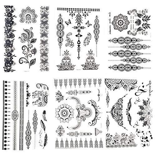 Packung mit 6 Blatt Tätowierung Aufkleber Spitze Mehndi temporäre Tattoos Mode Körper Kunst Aufkleber ()