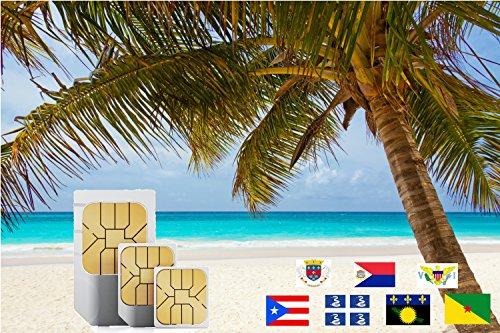 Karibik (Incl Martinique, Puerto Rico, Saint Martin) 9GB Prepaid Fast Internet Daten SIM 60 Reiseziele 30 Tage