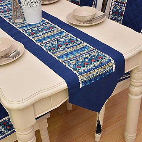 JY$ZB Vintage Stoff Baumwolle / Leinen Art blau Tischfahne / Couchtisch Tuch / Bett Flagge Geeignet für Haushalt Versammlung Hotelrestaurant , 32*180