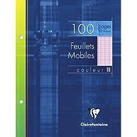 Clairefontaine 1343C - Un étui carton 100 pages Feuillets mobiles perforés 17x22 cm 90g grands carreaux, Rose