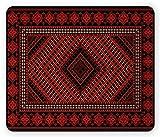 Burgund Maus Pad, Vintage Teppich mit ethnischen Old Fashioned Kulturelle Motive Blumen und geometrischen, Standard Größe Rechteck rutschfeste Gummi Mousepad, Rot Schwarz Hellbraun