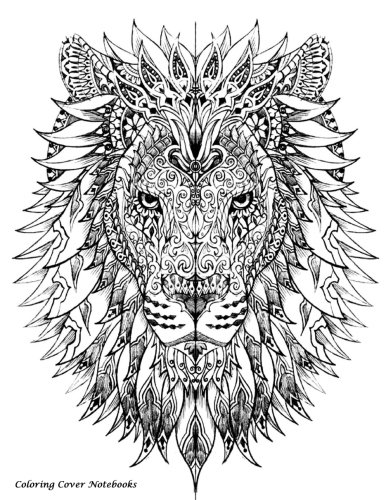 Coloring Cover Notebook (Lion Tribal | Wide Ruled): Notebook for note taking, writing, research, and journaling with coloring design on cover for ... reflection, meditation, Zen, anti stress