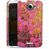 HTC One X Hülle Premium Case Cover Retro Bunt Blumen