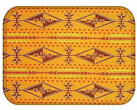 YJ Bear Yellow Bohemian Pattern Print Rectangle Doormat Non Slip Floor Mat Coral Fleece Indoor Outdoor Area Rug Kitchen Floor Runner Home Decor Carpet 16