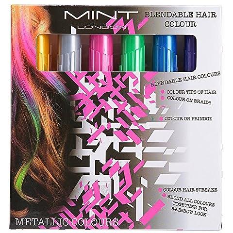 Cheveux Craie–métallique Paillettes Couleur de cheveux temporaire–Edge Chalkers–pas de saleté–conçu en Mastic–Fonctionne sur tous les couleurs de cheveux–de Essentials de couleur (6fils) par Sysrion