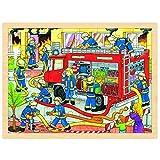 Goki 57527 - Einlegepuzzle - Feuerwehreinsatz