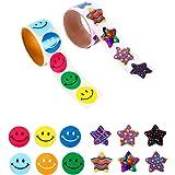 JOOEE 2 rullar motiverande belöning klistermärken för barn smiley ansikte och stjärna klistermärken lärare klistermärken (tot