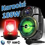 Lautsprecher Party Karaoke 180W Akku Tragbarer Micro handy180mit USB/Bluetooth/FM Radio + Rundumleuchte rot