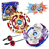 infinitoo New Burst Gyro Top with Launcher 4D Fusion Model Gyro Metal Combat   Battle Set Classic Toys for Adult Children (2 pcs)