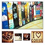 Ecolight Art Wand Leinwand Bundle Charming Snowboard Shop Killer, 80 x 120 CM und Lover Kaffee Collage Set of 4, Modernes Dekor Kunstwerk Gerahmte Wand Kunst 100% Ursprüngliche Fertig zum Aufhängen