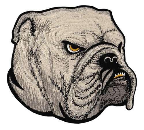 Hund Bulldogge Biker Backpatch Rückenaufnäher XXL ca. 22 x 20 cm 20 Bottoms Jeans