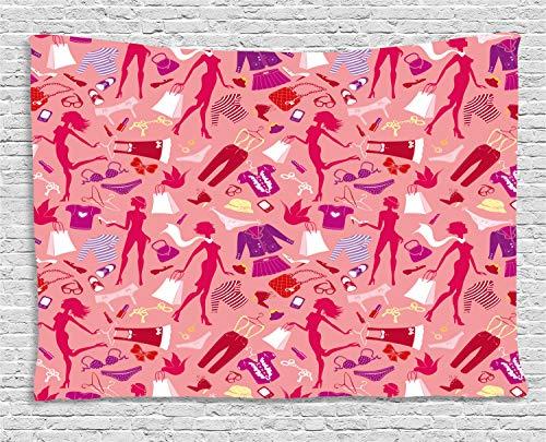 ABAKUHAUS Heels und Kleider Wandteppich, Glamour-Kleidung, Wohnzimmer Schlafzimmer Heim Seidiges Satin Wandteppich, 200 x 150 cm, Mehrfarbig Glamour Satin-heels