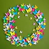 ElecMotive 60 teiligem 3D Abnehmbar Schmetterlinge Wandaufkleber Wandtattoo Wandbilder Wandsticker Dekoration für Schlafzimmer Wohnzimmer Kinderzimmer Geschenk Hochzeit Party Deco mit Klebepunkten zur Fixierung (Klebepunkten+ Magnet) (12 Gelb+12Grün +12 Weiß +12 Rosa +12 Blau)