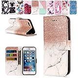E-Mandala Samsung Galaxy S6 Edge Hülle Leder Flip Case Tasche handyhüllen Schutzhülle Lederhülle mit kartenfach klapphülle Handytasche - Roségold Weiß Marmor