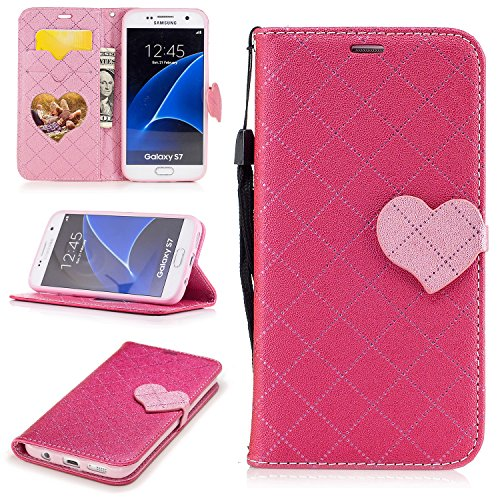 Cozy Hut Samsung Galaxy S7 Hülle, PU Leder Handyhülle Ultra Dünne Ledertasche Magnetverschluss Standfunktion & Kartensfach Flip Wallet Schutzhülle für Samsung Galaxy S7 - Rose Red Love