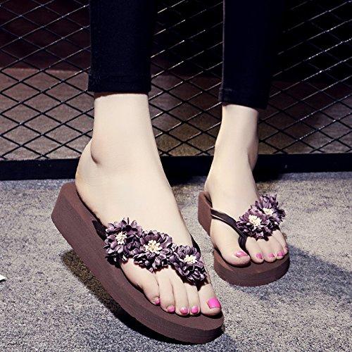 ZYUSHIZ Frau T-Hausschuhe Home Die Philippinen mit kühlen Hausschuhe rutschfeste Füße dick Clip Strand Espressobraun Boden