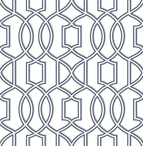 A-Street Prints 2625-21815 Quantum Trellis Wallpaper, Blue by A-Street Prints Blue Trellis